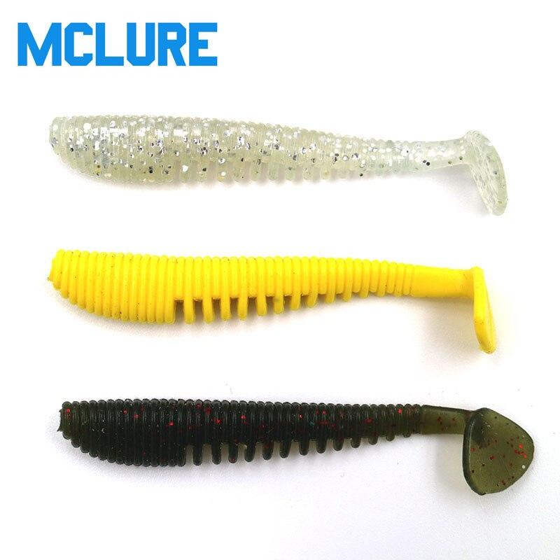 8pcs/lot T ail Soft Lure 75mm 3g Wobblers Silicon Lure Paddle Tail soft lure Jig Head T tail soft insects Fake Bait