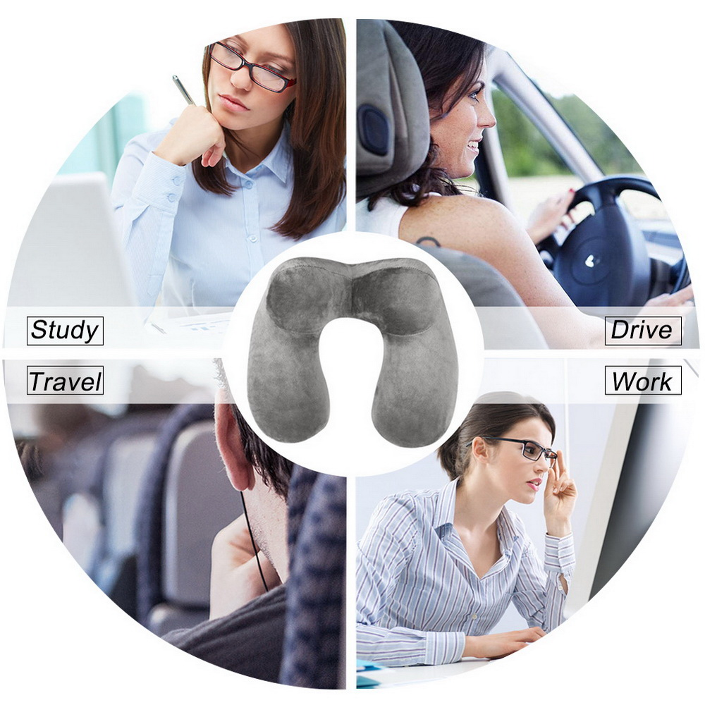 1pc Inflatable U-shaped Travel Home Relief Flocking Portable Protection Cervical Pillow Bedroom Comfortable Health Pillows