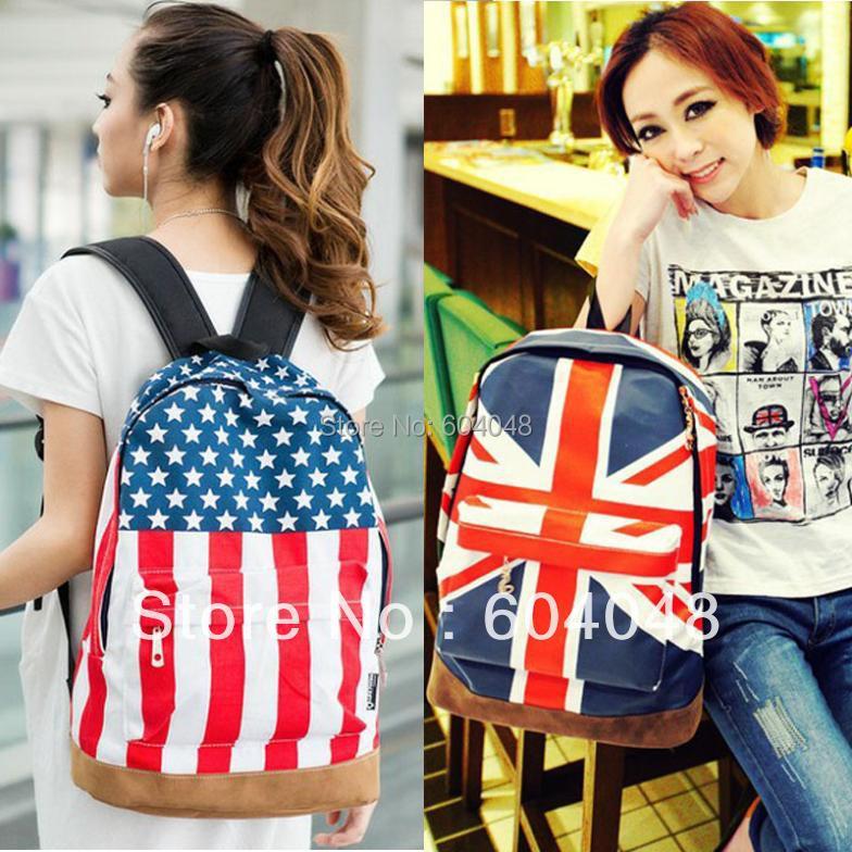 e0481e2845 Free shipping Unisex Canvas Handbag teenager School bag Book Campus UK US  Flag shoulder bags