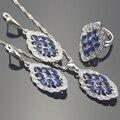 Azul Creado Tanzanite Cristal Blanco 925 Plata de La Joyería Para Las Mujeres Collar Colgante Anillo Del Pendiente Caja de Regalo Libre