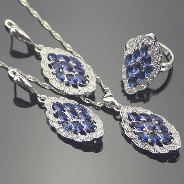 Blue Created Tanzanite White Crystal 925 Sterling Silver Jewelry Sets For Women Necklace Pendant Ring Earring Free Gift Box