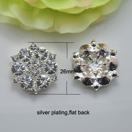 J0101 26mm diameter rhinestone button crystal button flat back at back silver plating