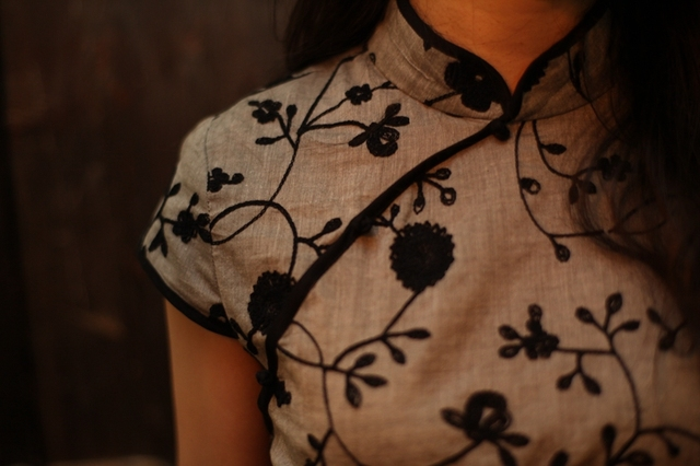 Rose chinese style women's cheongsam top cotton hand embroidered 100% black powder