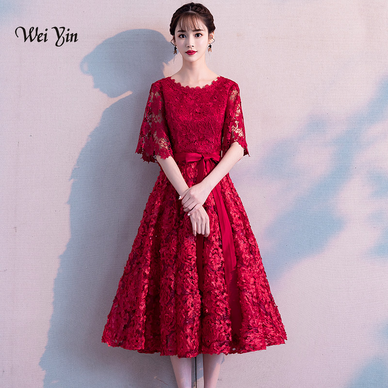 weiyin Robe De Soiree 2018 New The Banquet Sexy O-neck Lace A-line Half Sleeve Tea-length Noble Party Formal   Evening     Dresses