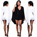 2016 Autumn New Women Fashion Chiffon Deep V Neck Bodycon Jumpsuit with Bat Sleeve Cloak Women Bandage Bodysuit Women Rompers
