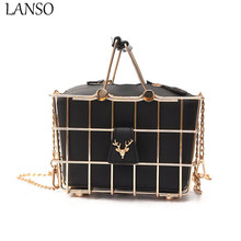 LANSO Personality Metallic Hollow Metal Cages Party Clutch Evening Bag Shoulder Women Chain Messenger Bags Fashion Handbags