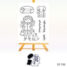 AZSG Love girl and puppy clear stamps Cutting Dies Animals Mood Seal for DIY Scrapbooking Photo Album Card Making