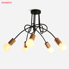 Nordic solid wood Ceiling Lights for living room retro art spider ceiling lamp E27 light fixtures(China)