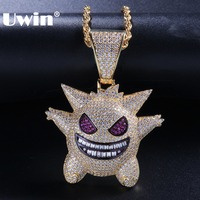 Uwin Fashion Hiphop Micro Pave Bling Bling Fairy Necklace Iced Cubic Zirconia Little Devil Pendant Chains Jewelry Women Men