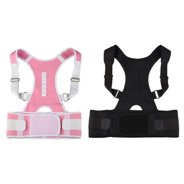 Cómodo Ortopédica Volver Postura Corrección Cinturón Brace Hombro Tratamiento Anti Doblar de Nuevo la Corrección de La Cinta Rosa/Negro Talla L