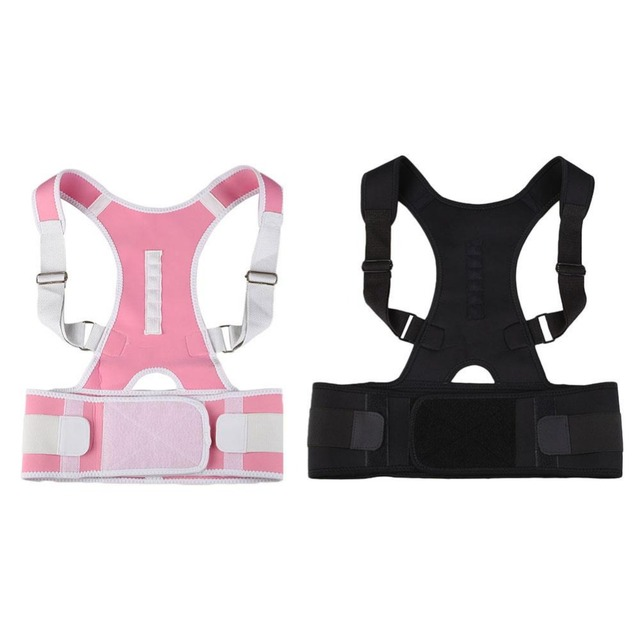 Comfortable Orthopedic Back Posture Correction Shoulder Belt Brace Treatment Anti Bending Back Correcting Tape Pink/Black L Size