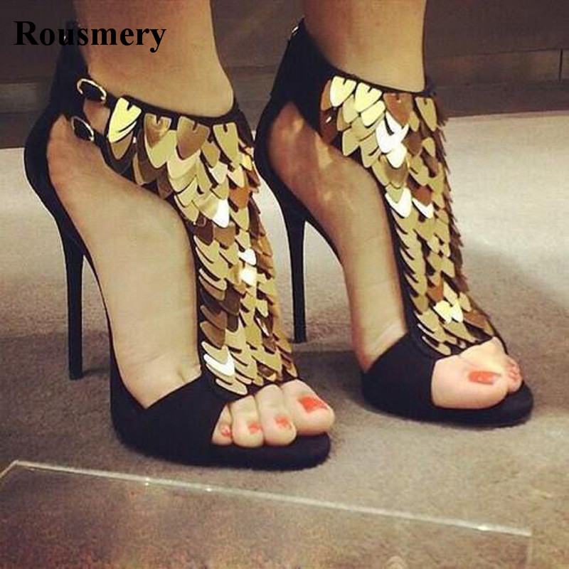 Summer New Fashion Women Open Toe Black Red Gladiator Sandals Blingbling Ankle Wrap Gold Spike High Heel Sandals Dress Shoes цена 2017