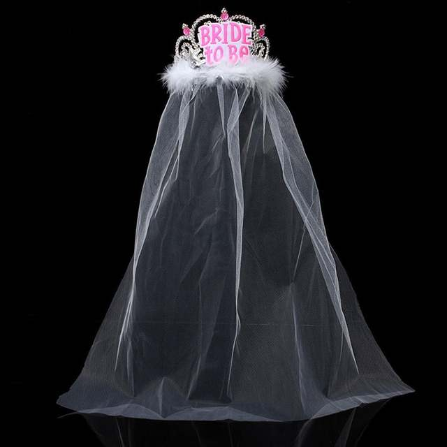 placeholder Bride to Be Crown with White Veil Bachelorette Party Supplies  Bridal Shower Tiara cdd1fb5bd013