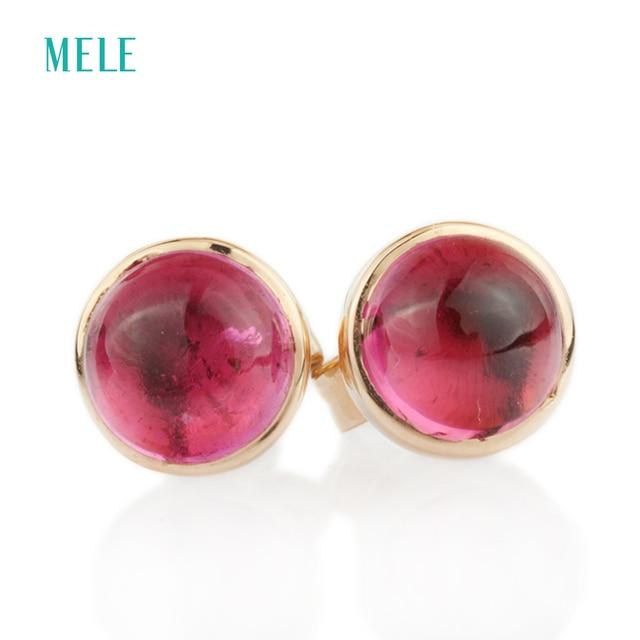 Серьги из розового золота Natutal rubellite, круглые 6 мм * 6 мм, розовое золото 18 карат, огранка кабошоном, красивый цвет