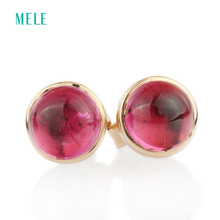 Natutal rubellite rose gold earring, round 6mm*6mm, 18K rose gold fashion earring, cabochon cutting, beautiful color