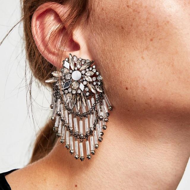 Dvacaman Brand Large Crystal Flower Charm Drop Earrings Women Metal Maxi Tel Long S Statement