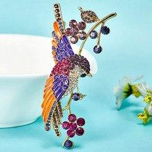 Muy Hermoso Bird Broches Para Las Mujeres Colar Feminino Broches Accesorios de La Boda de Cristal Brillante Esmalte Esmalte Broches De Unhas