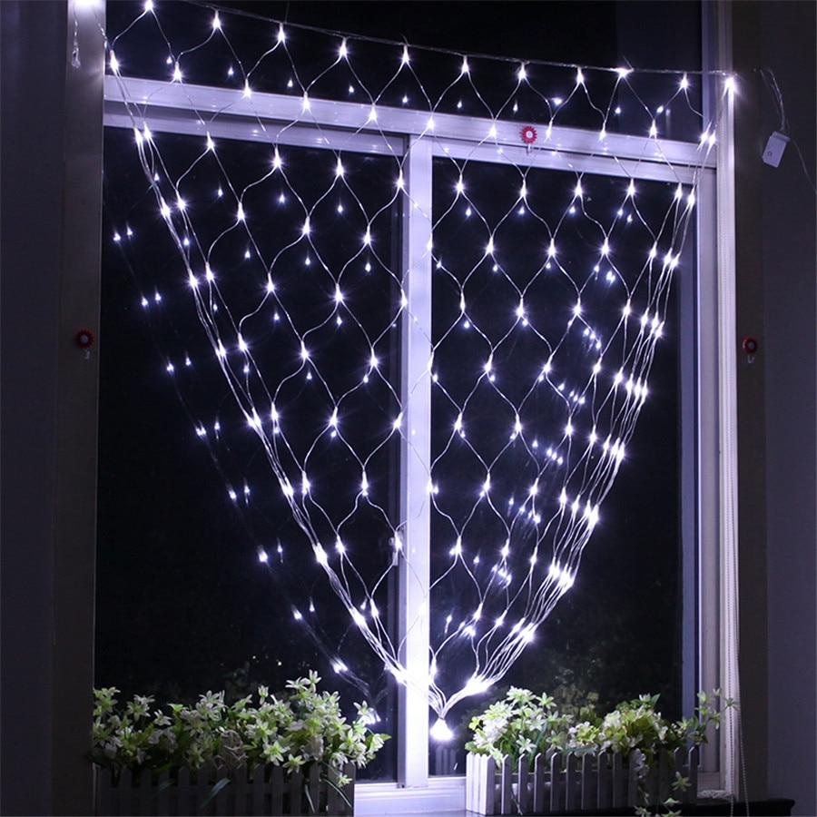 Thrisdar 1.5x1.5 м 96 LED Чистая Mesh Фея свет шнура гирлянда открытый Рождество Свадебная вечеринка украшения Праздничное освещение
