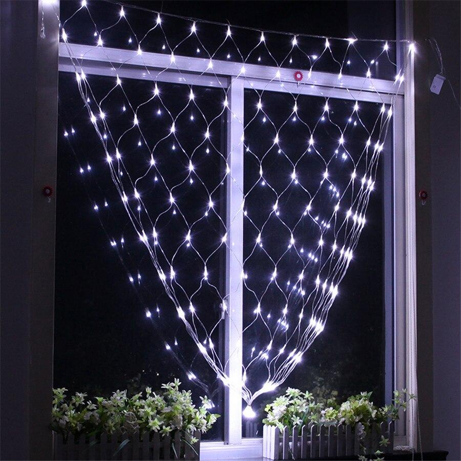 Thrisdar 1.5x1.5 м 96 LED Чистая Mesh Фея свет шнура гирлянда открытый Рождество Свадебн ...
