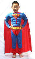 High Quality Children Muscle Superman Costume Clothes Halloween Cosplay Party Muscle Super Hero Costume Cloak