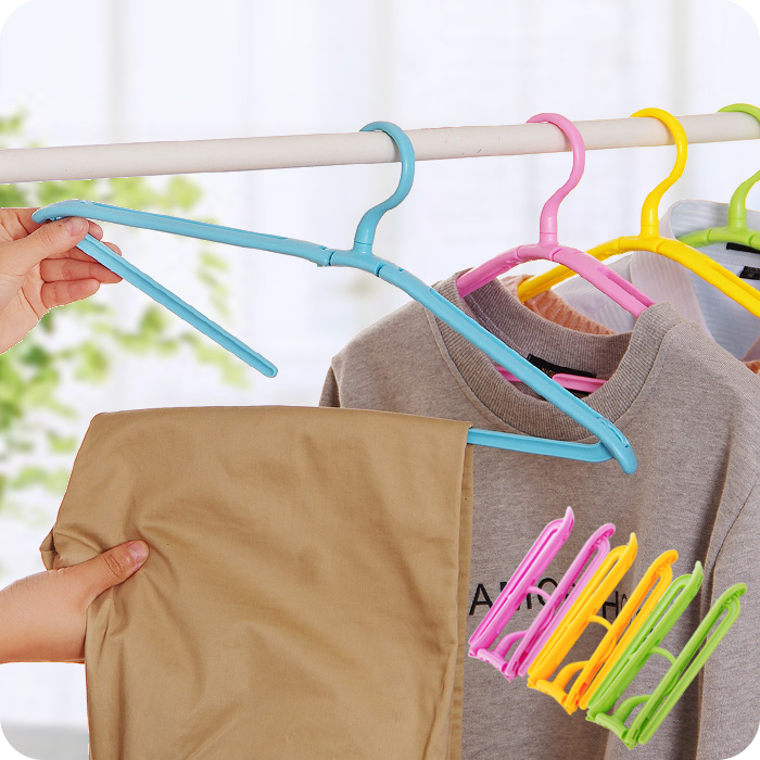 Portable Travel Foldable Clothes Hanger 360 Degree Rotating Plastic Racks Easy Extraction Of Trousers Rack