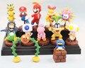 4 Estilos Super Mario Bros Figura Juguetes 1 Unidades = 13 unids Mario Luigi Bowser bomba Peach Toad Yoshi Figuras Koopalings PVC Modelo Juguetes Con Caja regalo