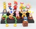 4Styles Super Mario Bros Figure Toys 1set=13pcs Mario Bowser Luigi Bomb Toad Peach Yoshi Koopalings PVC Model Toys With Box Gift