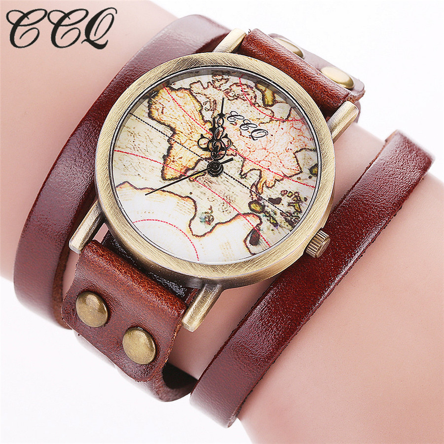 CCQ Brand Fashion Vintage World Map Watch Women Casual Genuine Leather Bracelet WristWatch Relogio Feminino Drop Shipping C81