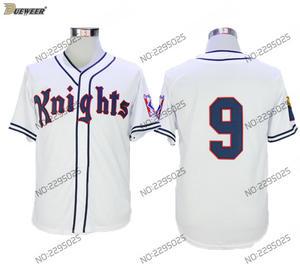 b384de0de5d DUEWEER York Knights Baseball Jersey White  9 Mens Roy Hobbs Natural Movie  Redford