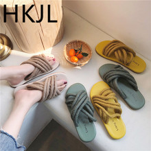 HKJL Fashion 2019 new summer womens shoes wild Korean version of the retro woven color hemp rope flat female drag A498