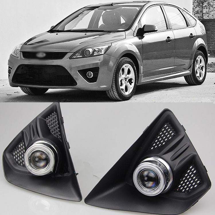 Ownsun Super COB Fog Light Angel Eye Bumper Projector Lens for Ford Focus Hatchback ownsun new style tear drop led projector lens headlight for new ford focus 2012 2013