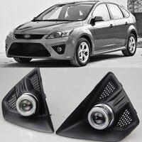 Ownsun Super COB Fog Light Angel Eye Bumper Projector Lens for Ford Focus Hatchback