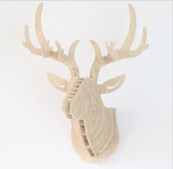 DIY 3D Ahşap Hayvan Geyik Kafa Sanat Modeli Ev Ofis Duvar Asılı Dekorasyon Depolama Tutucular Rafları Dört Renk Mevcut