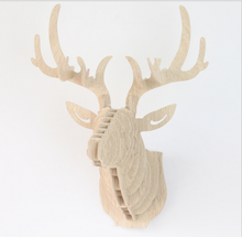 DIY 3D Wooden Animal Deer Head Art Model Home Office Wall Hanging Decoration Storage Holders Racks Four Colors Available