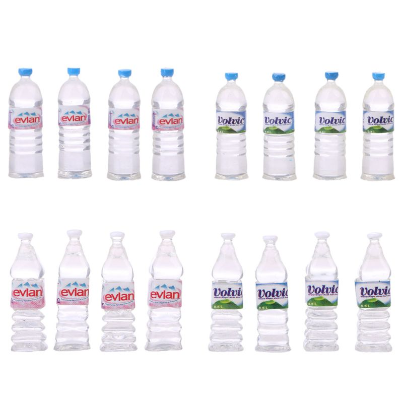 2pcs Bottle Water Drinking Miniature DollHouse 1:12 Toys Accessory Collection MB