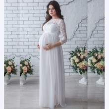 Lace Pregnant Dress Women Front Split Long Maxi Maternity Lace Dress Gown Photography Prop See Through Dress недорого