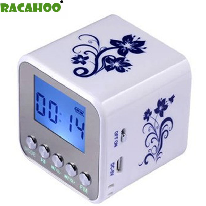 RACAHOO Portable Speaker LED Display MP3 Support TF / SD Card U Disk Alarm Clock Radio For Mobile phone computer