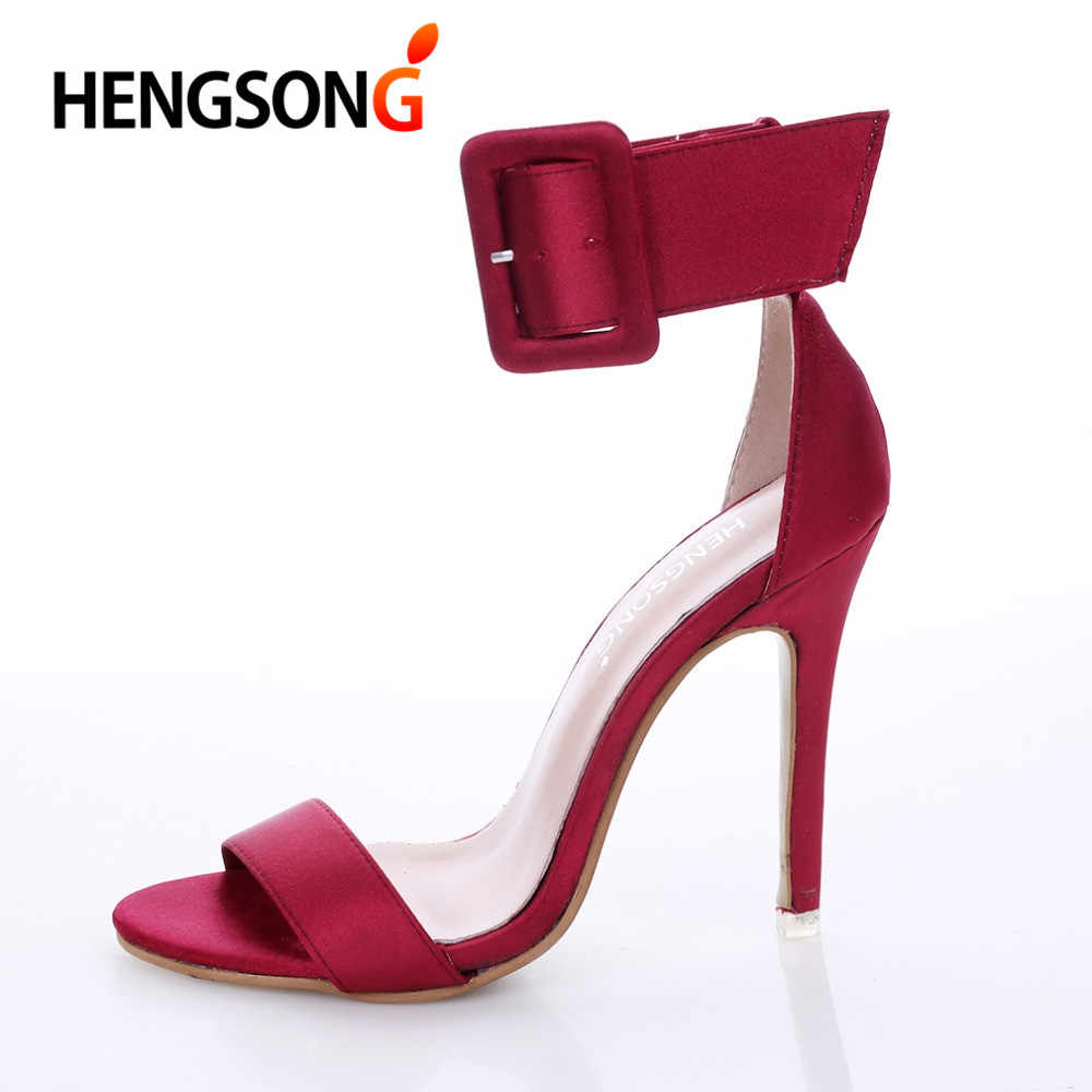 b0221ea7793c46 Fashion Women Sandals Hot Buckle ankle strap Pump High Heels Shoes Fish  Mouth style 4 Colors