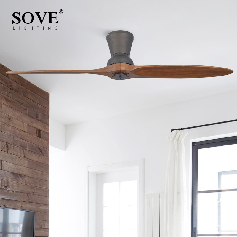 SOVE Black Village Industrial Wooden Ceiling Fan Wood Without Light Decorative Home Fan Ceiling DC 220 Volt Ventilador De Techo