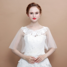 Summer White Bridal Bolero Lace Appliques Shrug Shawl Women Bolero Jacket  Sheer Capes Jaqueta Feminina Wedding 8d3569c92