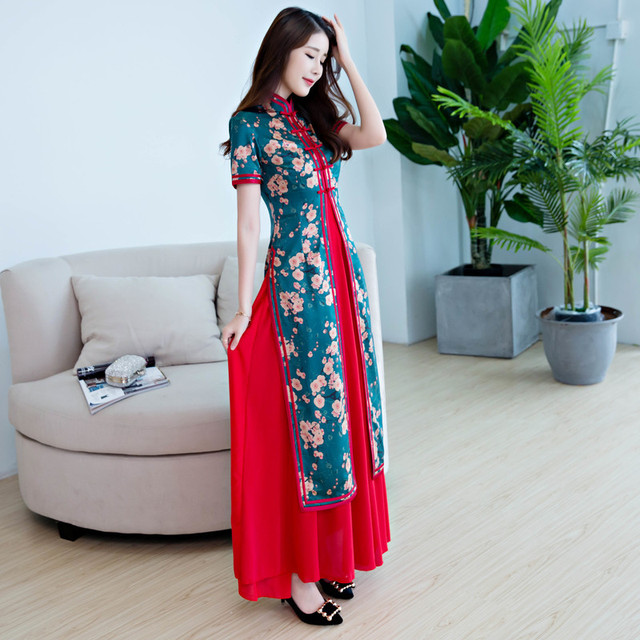 New Women Vietnam Aodai Print Flower Long Qipao Chinese Traditional Silk  Dress Short Sleeve Sexy Cheongsam 07891763e32b