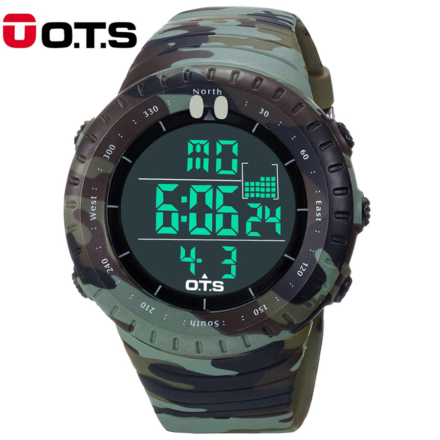 OTS 2018 New Digital Watch Men Sports Watches LED Military Army Camouflage Wrist Watch For Boy Waterproof Top Brand Man Watches