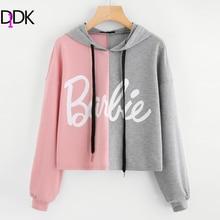 Фотография DIDK Two Tone Print Front Drop Shoulder Hoodie 2017 Color Block Drawstring Letter Woman Top Multicolor Long Sleeve Sweatshirt