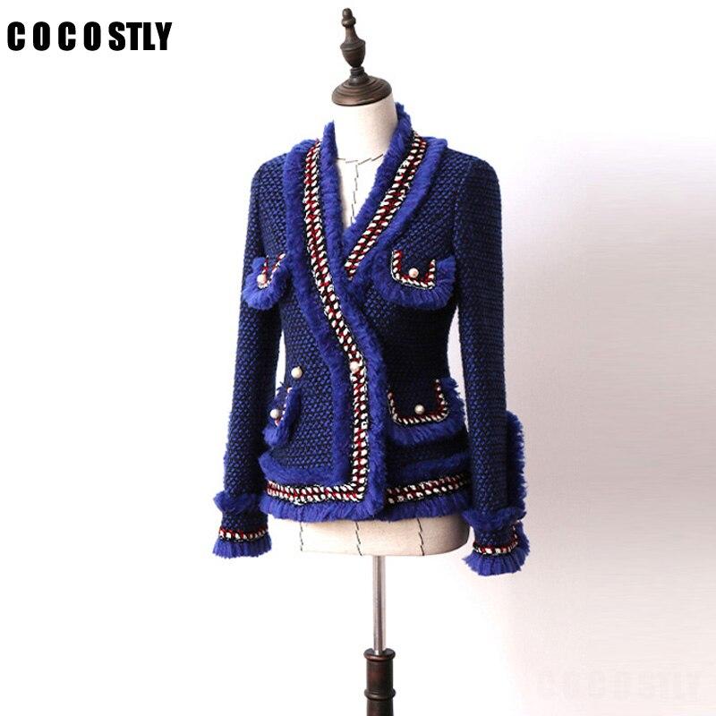 High Quality 2018 Spring Jacket Women Tweed Tassel Jacket Long Sleeve V neck Pearl Wool Ladies Jackets Luxury Elegance Jacket