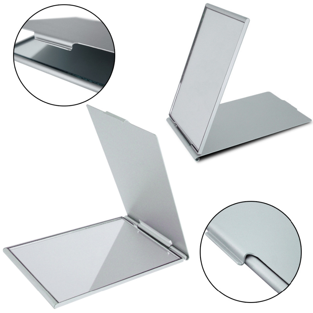 цена на For Girl Ultra-thin Make Up Pocket Mirror Cosmetic Rectangle Foldable Silver Makeup Mirrors Gift