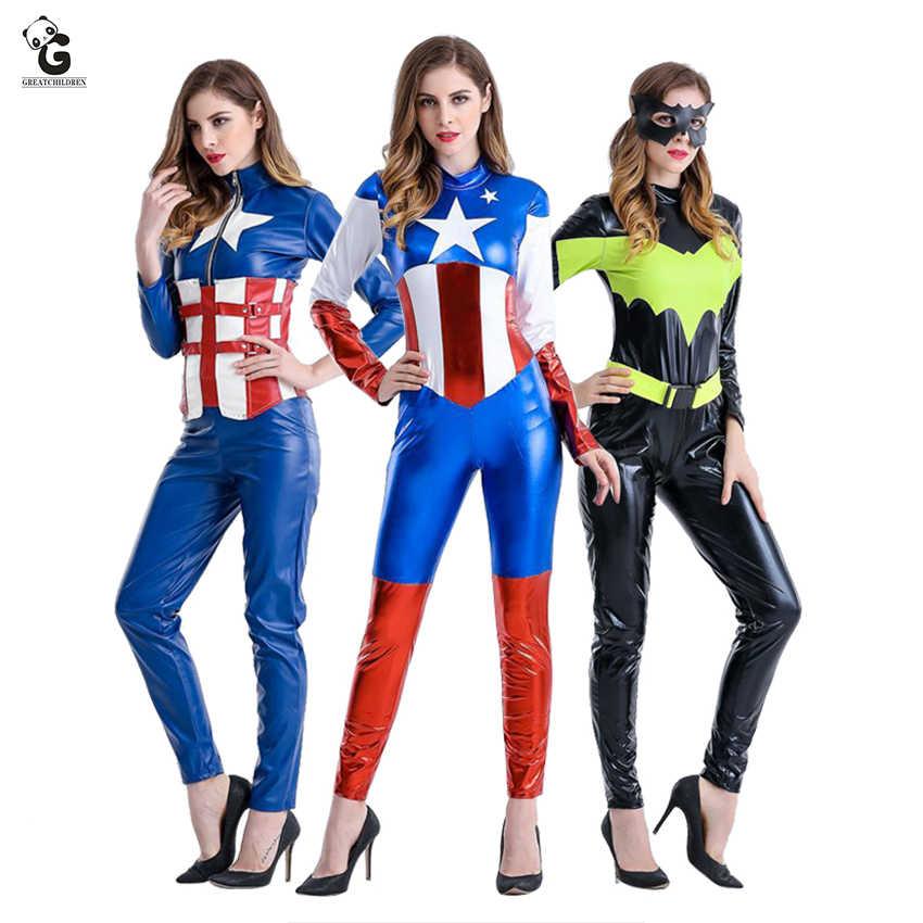 Capitão América Traje de Halloween Do Traje para As Mulheres Quantum Endgame Cosplay de Super-heróis Batman Terno Cos Capitão Mulheres Bodysuit
