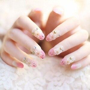24 Pcs False Nails Tips Super Cute Pink Flowers Glitter Fake Nails Art Manicure Gradient With Glue