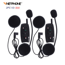 2PCS 500M Bluetooth Motorcycle Helmet Intercom Headset V2-500 Wireless Interphone Earphone for 2 Riders Handsfree Headphone Call