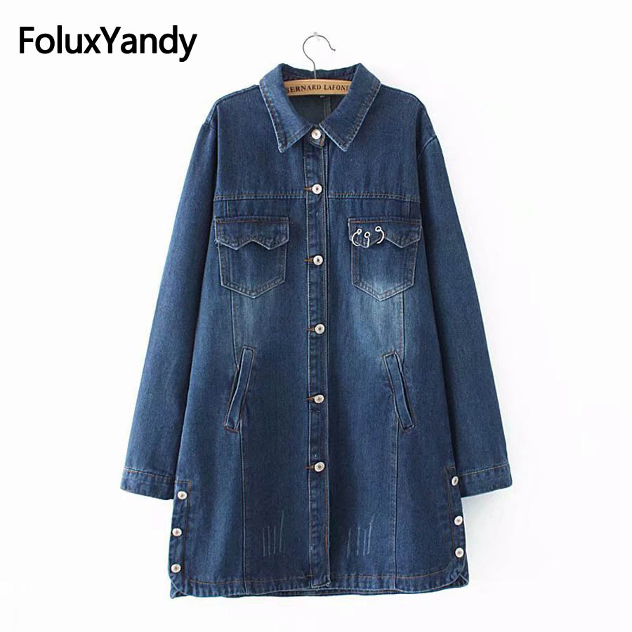 Letter Denim Trench Women Plus Size 3XL 4XL Turn-down Collar Casual Bleached Loose Jeans Trench Coat Outerwear KKFY2323