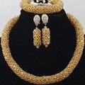 2017 African Fancy Gold Beads Jewelry Set Delicate Necklace Bracelet Earrings Women Big Crystal Jewelry Set Free Shipping UK